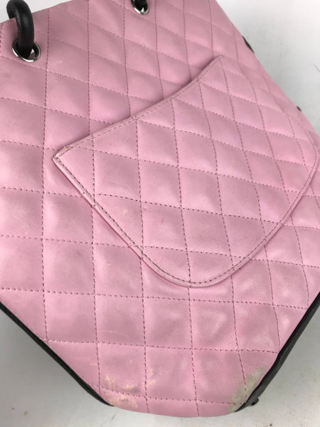 Chanel Pink/Black Quilted Cambon Ligne Small Tote Bag