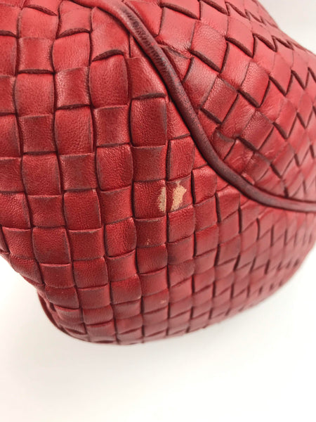 BOTTEGA VENETA Red Woven Leather Hobo Bag