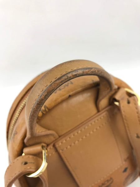 MCM Cognac Visetos Stark Mini Backpack w /GHW