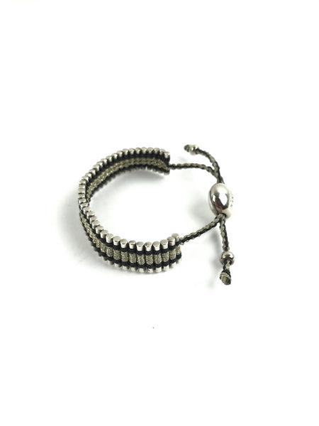 LINKS OF LONDON Sterling Silver Black & Gold Pewter Thread Friendship Bracelet