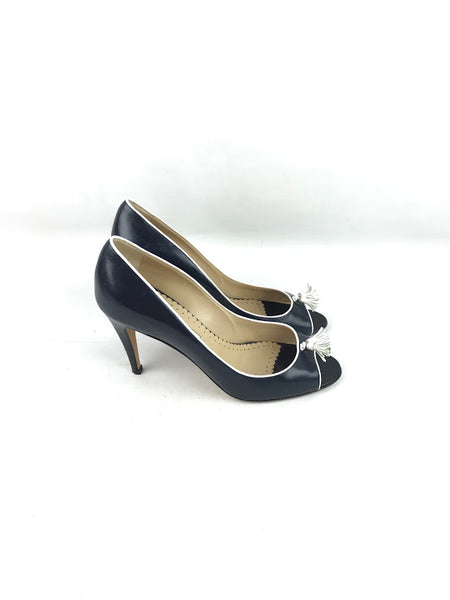 MANOLO BLAHNIK Black Leather Peep Toe Tassel Pumps W/ White Leather Trim