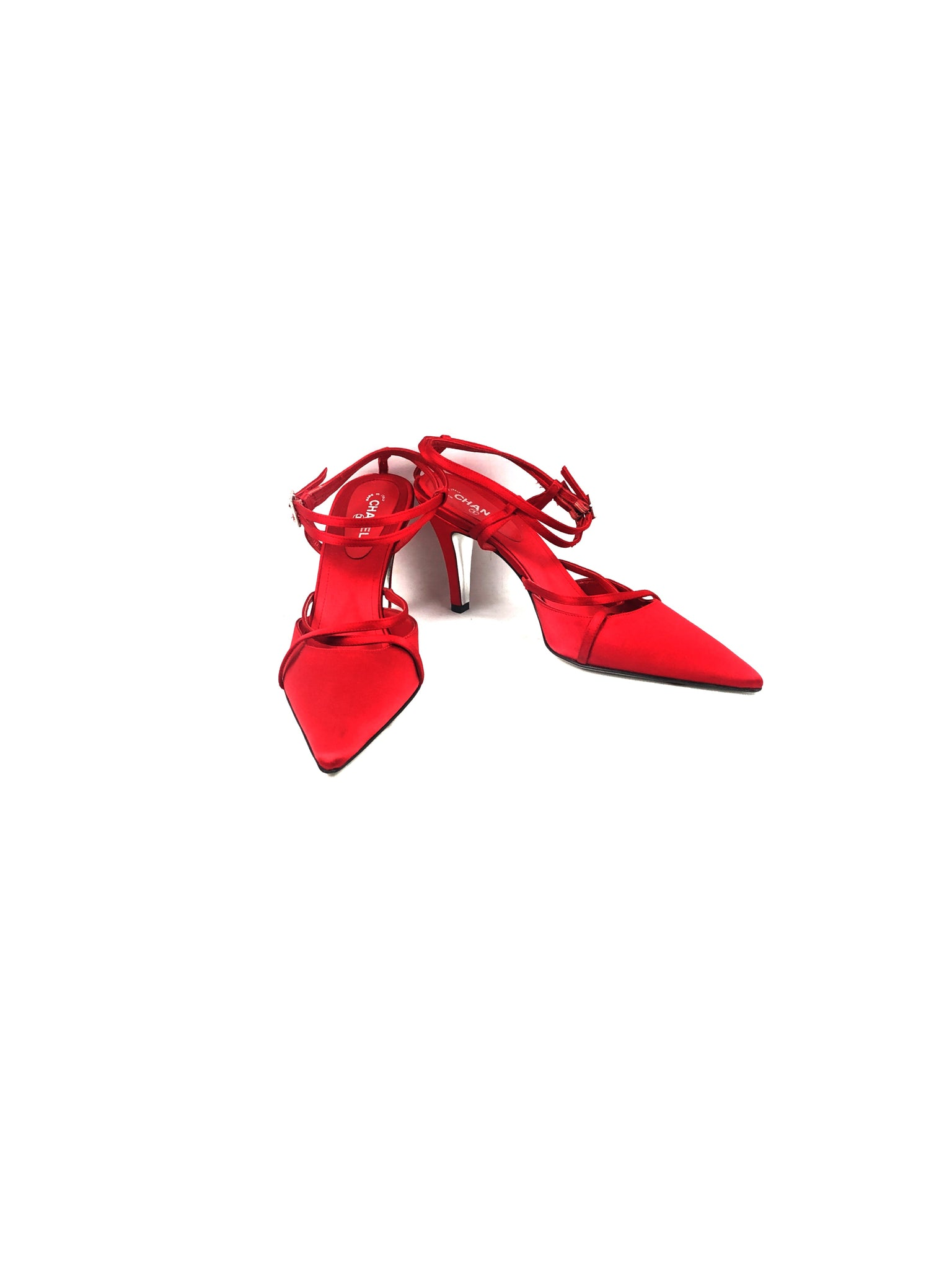 CHANEL Red Satin Pointed-Toe Low Heels