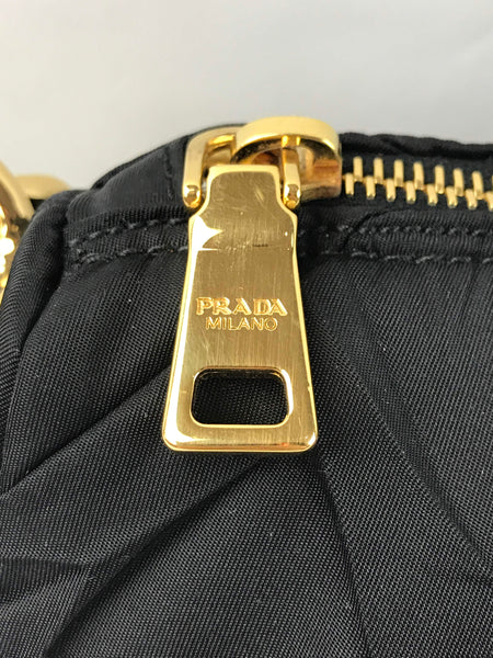 PRADA Black Nylon Rushed Shoulder Bag W/GHW Chain Shoulder Strap