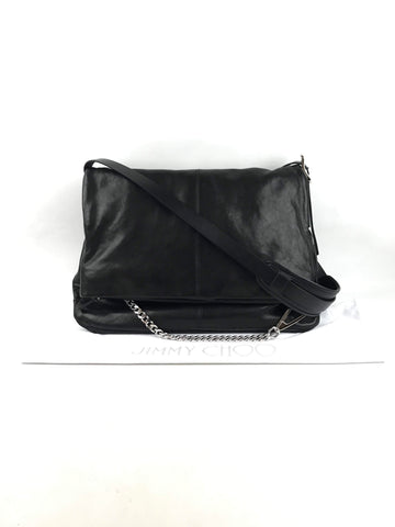 JIMMY CHOO Black Leather Chain Messenger Bag