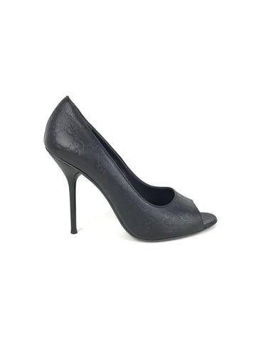Gucci Black Leather GG Embossed Peep Toe Pumps