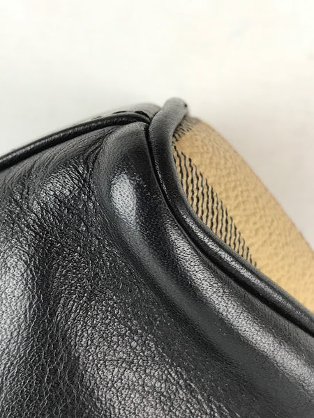 BURBERRY Black Leather/Coated Nova Check Canvas Shoulder Bag W/ Horn Closure