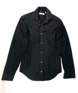 BURBERRY London Black Cotton Check Button Up Shirt