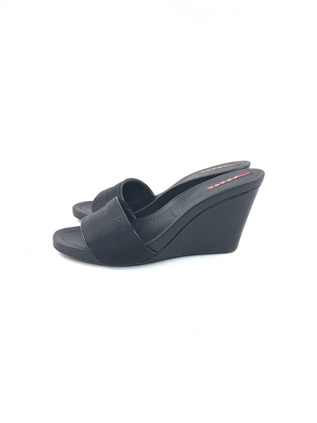 Prada black nylon/patent leather wedges