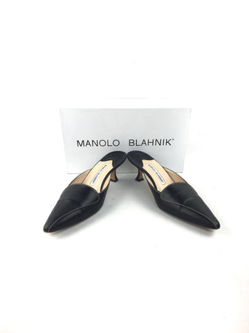 Manolo Blahnik black leather kitten heel slip-on