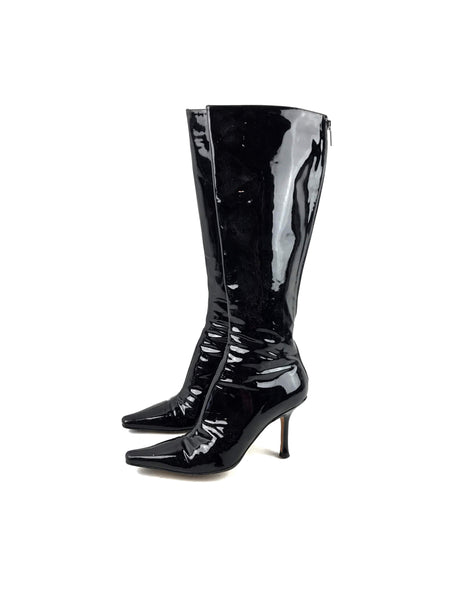 JIMMY CHOO Black Patent Leather Knee-High Heeled Boots