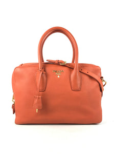 Prada orange vitello daino two-way leather bag