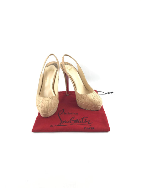 CHRISTIAN LOUBOUTIN Round-Toe Cork Platform Sling Back Pumps