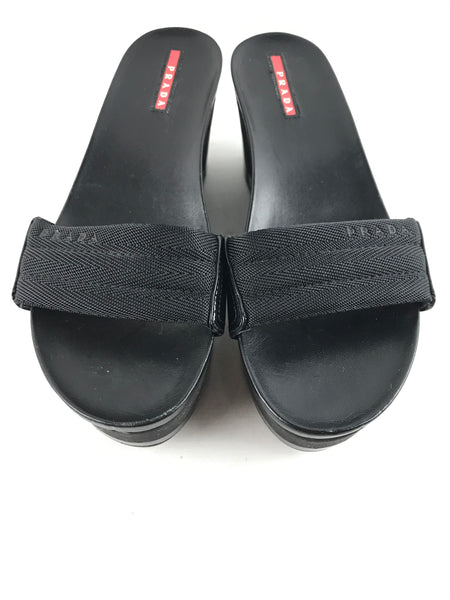 PRADA Black Foam/Patent Leather Platform Slides