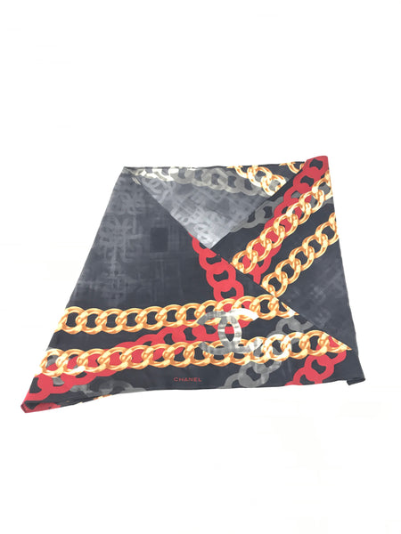 Chanel Triangle Shaped Red/Black/Gold Silk Chain Detail Scarf