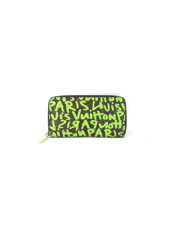 LOUIS VUITTON Monogram Graffiti Zippy Wallet w/ Lime Green Leather Interior