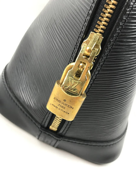 LOUIS VUITTON Noir Epi Leather Alma MM W/ GHW
