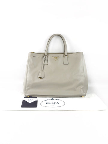 PRADA Light Grey Saffiano Large Tote Bag W/GHW