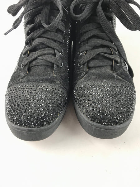 [MEN] Christian Louboutin Black Crystal/Suede Leather High Top Sneakers