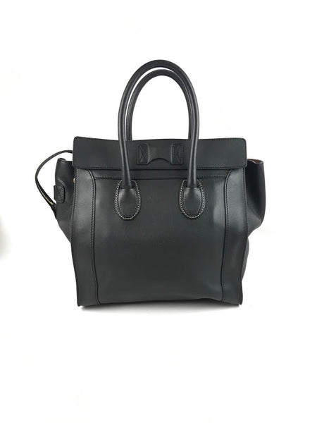 CELINE Anthracite Drummed/Pebbled Leather Top Handle Mini Shopper Tote W/GHW