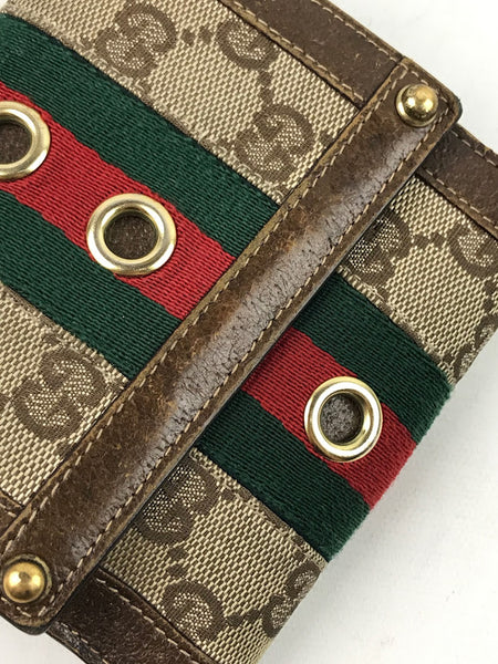 GUCCI Monogram Brown Fabric W/ Red/Green Strip W/GHW Wallet