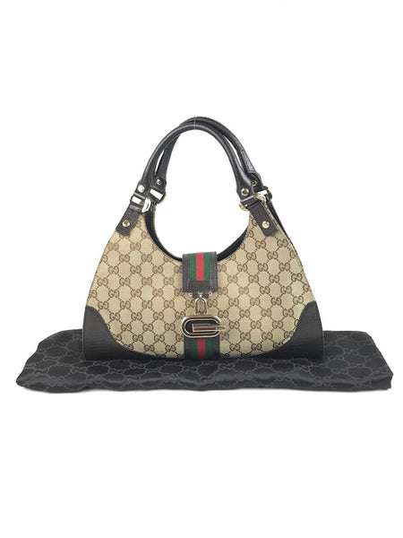 GUCCI Monogram Brown Fabric W/Green/Red Strip & Brown Leather Trim Top Handle Bag
