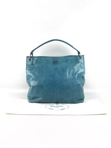 PRADA Light Blue Aged Leather Hobo Bag W/SHW