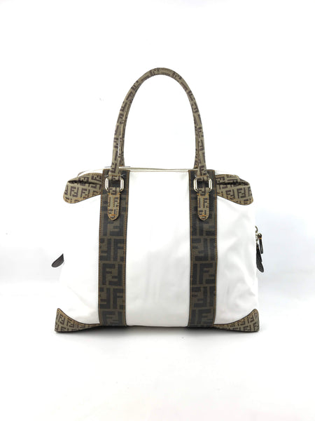 FENDI White & Brown Zucca Print Coated Canvas Tote w/GHW