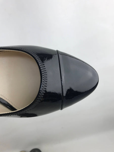 Prada Black Patent Leather Rounded Toe Kitten Heel sling back