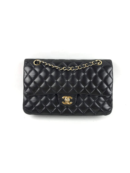CHANEL Black Calfskin Quilted Classic Double Flap Medium Bag W/GHW