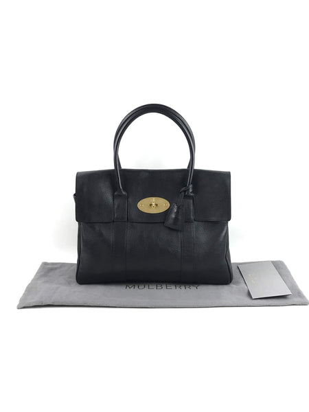 MULBERRY Black Grained Leather Bayswater Bag