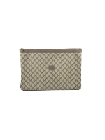 Gucci Vintage monogram Coated Canvas large Envelope Case W/GHW