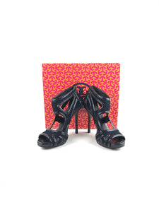 TORY BURCH Black Suede & Patent Leather Cut-Out Sandals