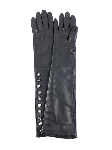 DOLCE & GABBANA Black Leather Long Gloves