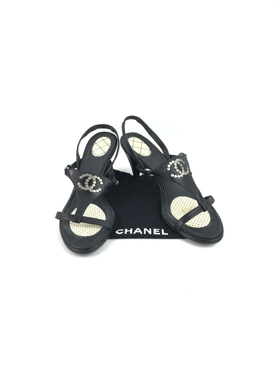 CHANEL Black CC Stud Logo Sandals