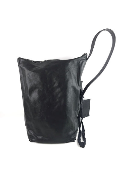 RICK OWEN Black Leather Large Hobo Bag