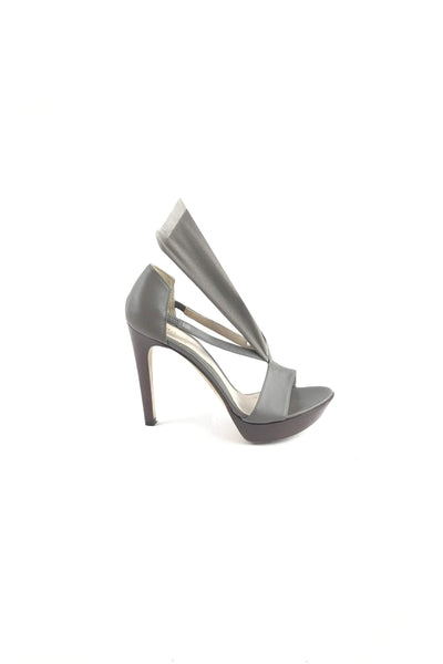 FENDI Grey Leather & Elastic Detail Sandals