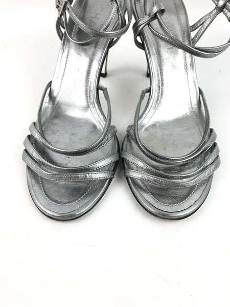 CHANEL Metallic Silver Strappy Sandals