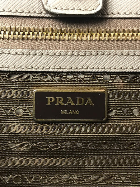 PRADA Grey Saffiano Leather Large Lux Tote