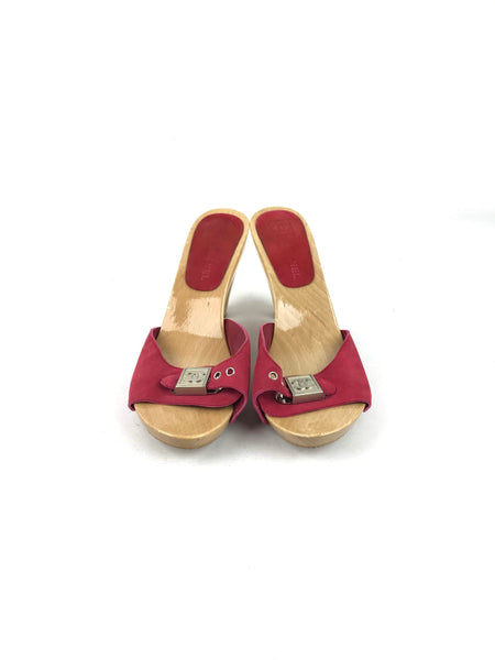 CHANEL Red Suede Wooden Clogs