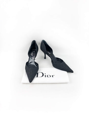 CHRISTIAN DIOR Black Monogram Canvas Low Pointed Toe Heels