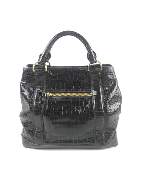 MIU MIU Brown Alligator Embossed Leather Handbag