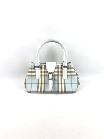 BURBERRY Baby Blue London Check Handbag