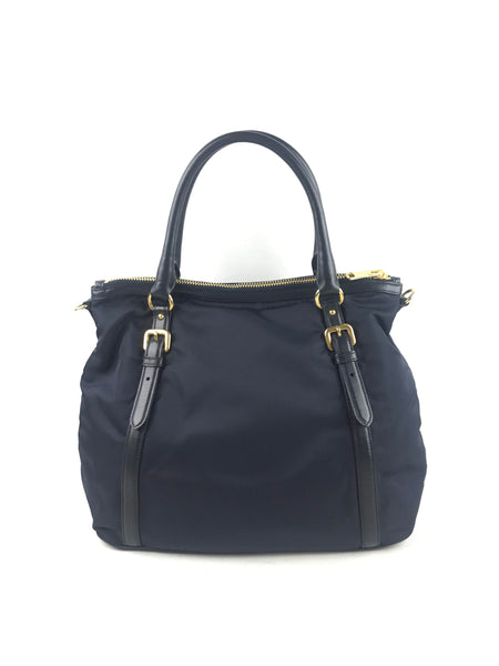 PRADA Navy Nylon Tote Bag W/ Leather Trim & Handle