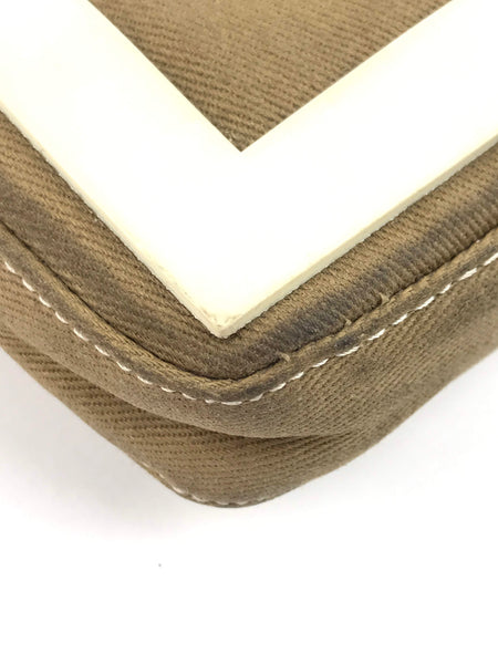 FENDI  Beige Fabric Baguette w/ White Leather Handle