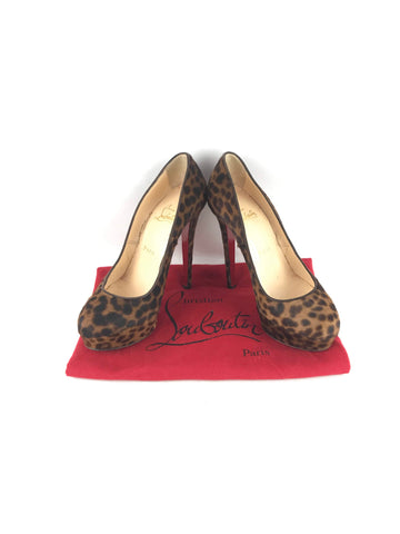 CHRISTIAN LOUBOUTIN Leopard Print Pony Hair Bianca 140 mm Pumps