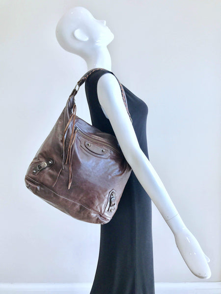 BALENCIAGA Brown Smooth Leather Hobo Bag