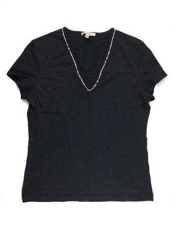 BURBERRY V Neck Black Cotton T-shirt w/ Nova Check Detail On Collar And Sleeves