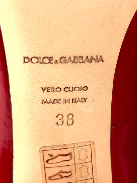 DOLCE AND GABBANA Red Patent Leather Pointed Toe Pumps