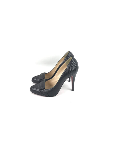 CHRISTIAN LOUBOUTIN Black Leather Rounded Toe Pumps