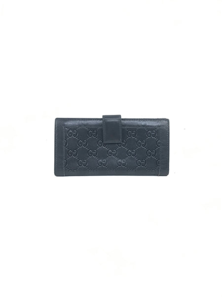 Gucci black guccissima wallet w/GHW